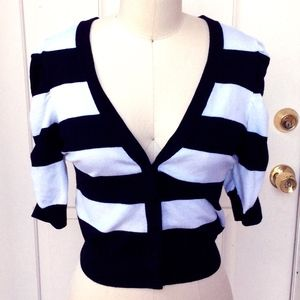 Rockabilly Pin-up Striped Cropped Cardigan